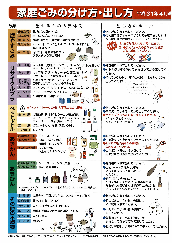 燃え ゴミ 発泡スチロール ない 小樽市 :ごみの分け方・出し方